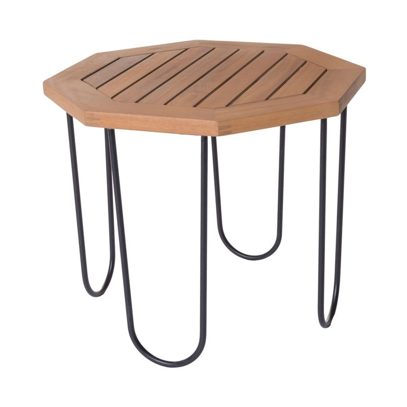 Table de jardin hexagonal 50x50x40 cm en bois et fer ...