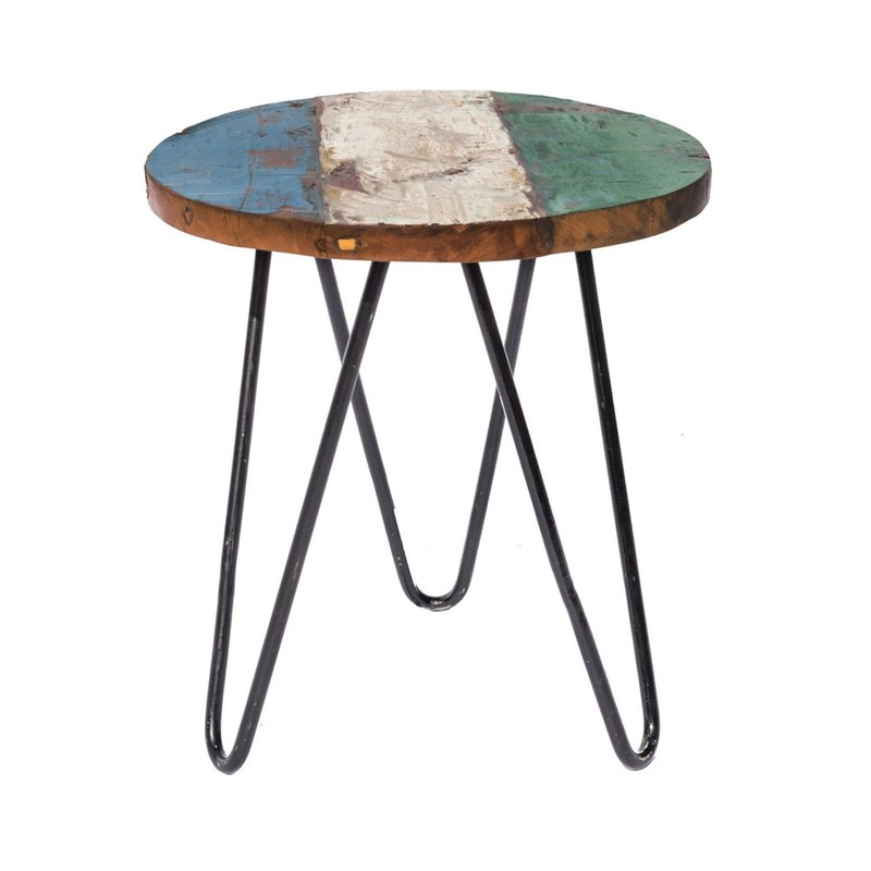 Table d\'appoint ronde 40 cm en teck recyclé et fer | Maison et Styles
