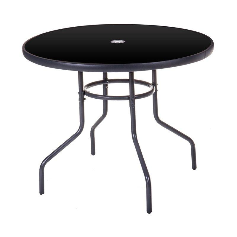 Table de jardin ronde 90 cm en acier gris foncé   Maison et Styles