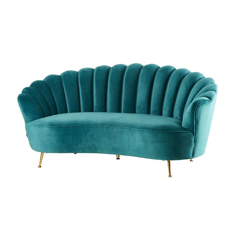Canapé 3 places en velours bleu canard - Corolle | Maison et Styles
