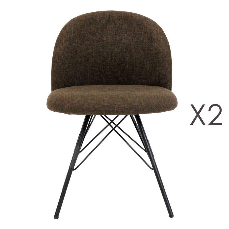 Fauteuil - Lot de 2 fauteuils 45x47,5x75 cm en tissu marron et métal photo 1