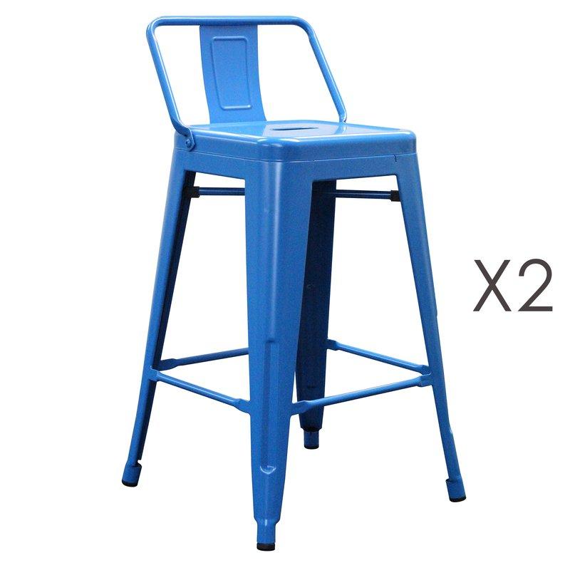 Tabouret de bar - Lot de 2 tabourets hauts en métal bleu - ARTY photo 1