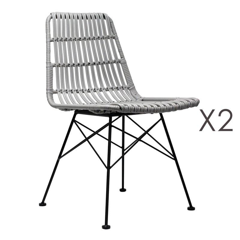 Chaise - Lot de 2 chaises 56x47x82 cm en PVC tressé gris photo 1
