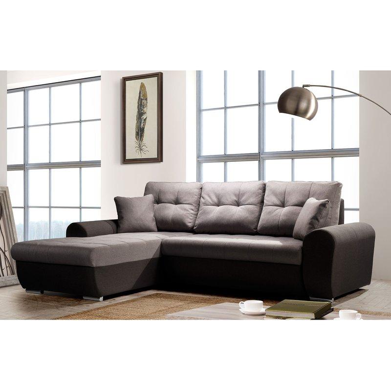 Canapé - Canapé d'angle à gauche convertible en tissu gris - OSTENDE photo 1