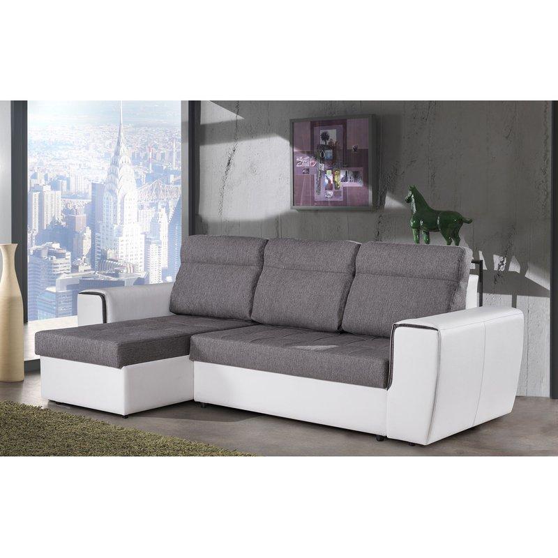 Canapé - Canapé d'angle convertible et réversibe gris et blanc - YPRES photo 1