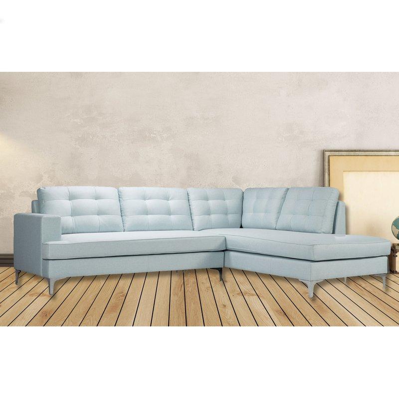 Canapé - Canapé d'angle à droite convertible en tissu bleu clair - POSITANO photo 1