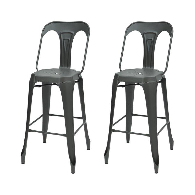 Tabouret de bar - Lot de 2 chaises de bar en métal gris - TALY photo 1