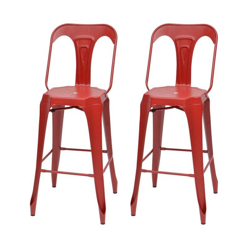 Tabouret de bar - Lot de 2 chaises de bar en métal rouge - TALY photo 1