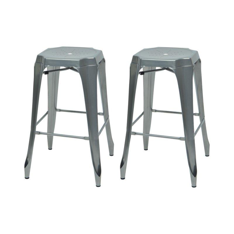 Tabouret de bar - Lot de 2 tabourets de bar en métal aluminium - TALY photo 1