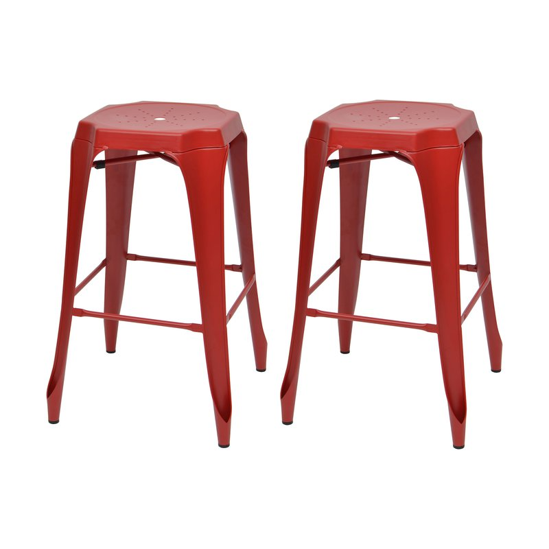 Tabouret de bar - Lot de 2 tabourets de bar en métal rouge - TALY photo 1
