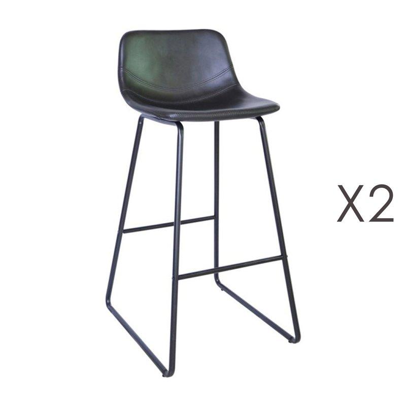 Tabouret de bar - Lot de 2 tabourets de bar 55,5x45,6x99 cm en PU noir - PALMY photo 1