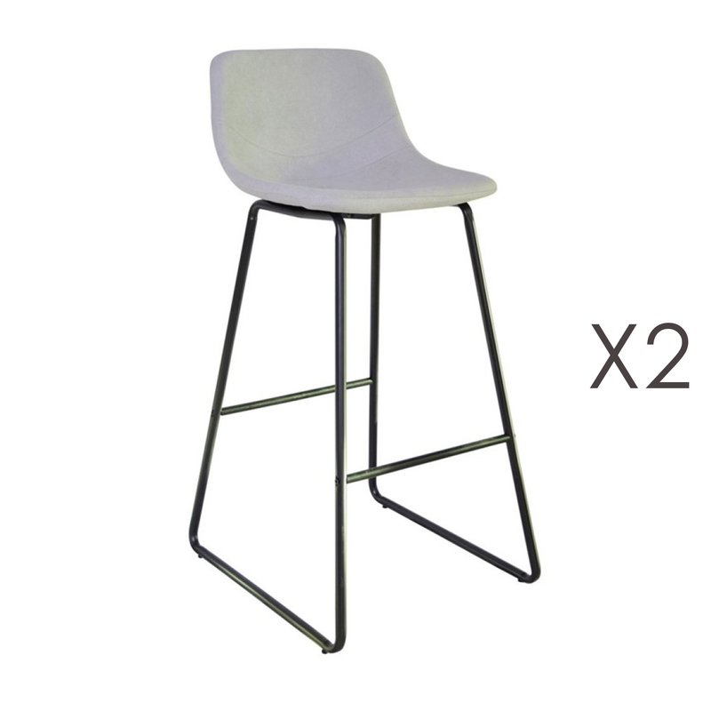 Tabouret de bar - Lot de 2 tabourets de bar 55,5x45,6x99 cm en PU gris clair - PALMY photo 1