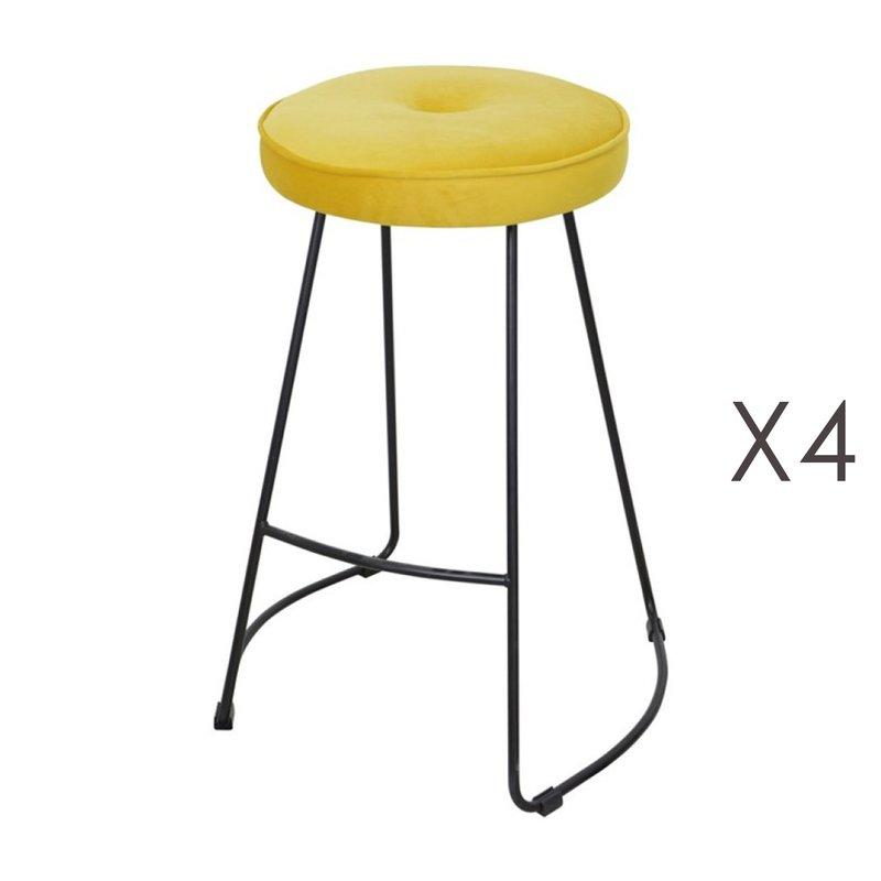 Tabouret de bar - Lot de 4 tabourets de bar 45x50x68 cm en velours jaune - TROGEN photo 1