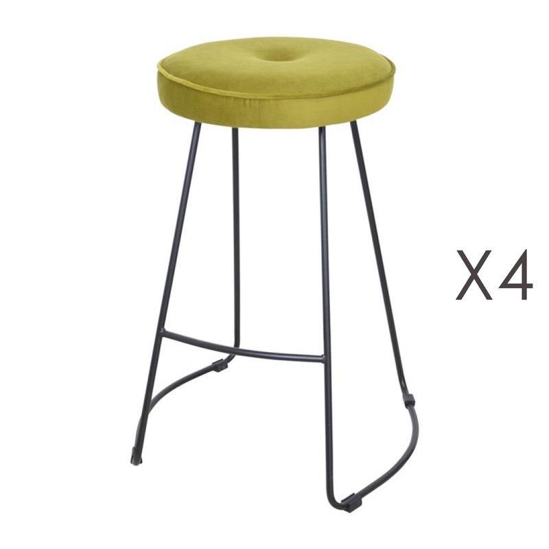 Tabouret de bar - Lot de 4 tabourets de bar 45x50x68 cm en velours vert - TROGEN photo 1