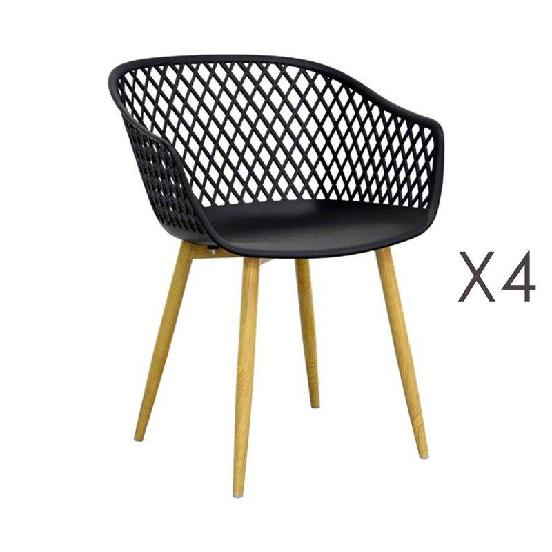 Chaise - Lot de 4 fauteuils 61x56x78 cm noir et pieds naturels - SALMA photo 1