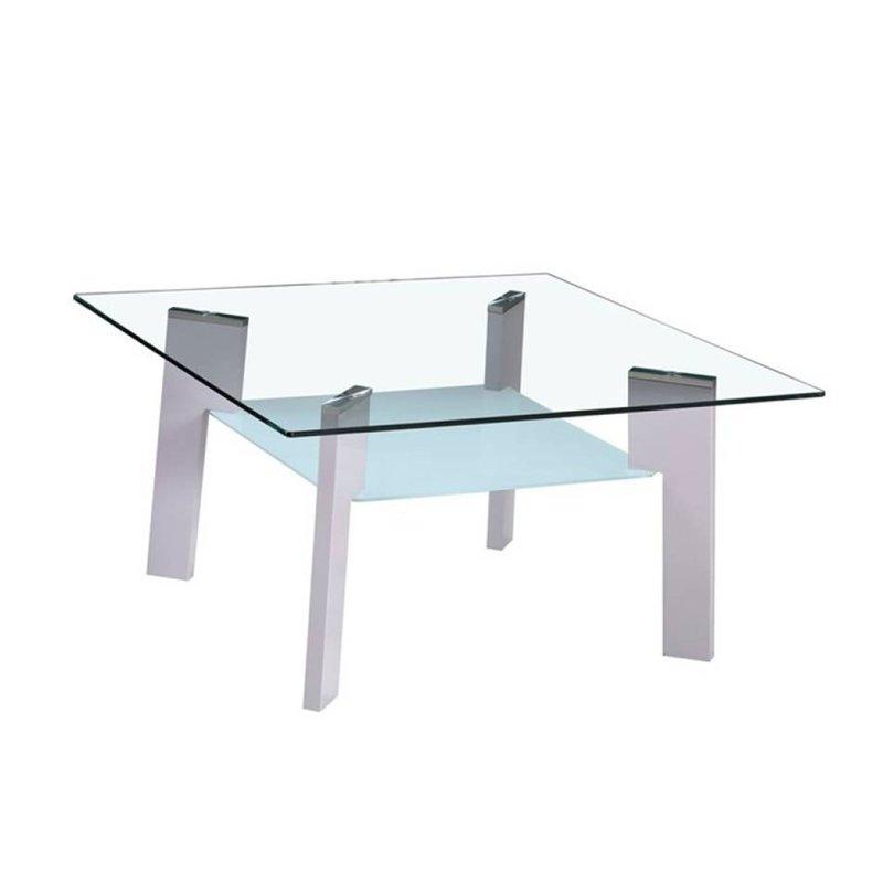 Table basse - Table basse 80 cm double plateau en verre et pieds gris - STREY photo 1