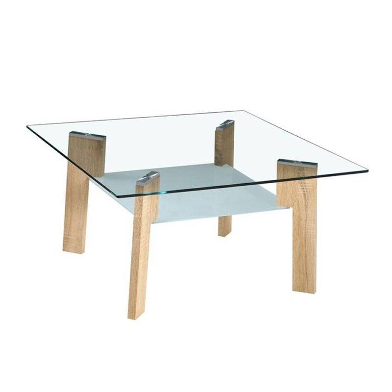 Table basse - Table basse 80 cm double plateau en verre et pieds naturel - STREY photo 1