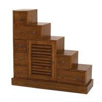 Meuble escalier 1 porte et 7 tiroirs en bois - VOTARA