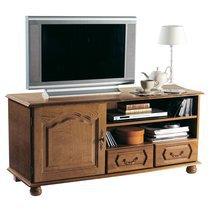 Meuble TV bas 1 porte 2 tiroirs en chêne - QUIMPER