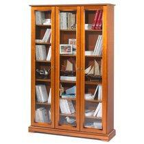 Bibliothèque 3 portes vitrées en finition merisier - FLORIE