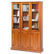 Bibliothèque 3 portes + 3 portes vitrées en finition merisier - FLORIE