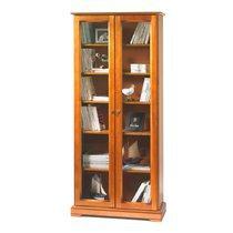 Bibliothèque Louis Philippe 2 portes vitrées en finition merisier - FLORIE