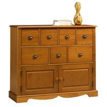 Buffet 2 portes et 7 tiroirs de style Anglais en pin miel - AUTHENTIC PIN MIEL