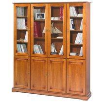 Bibliothèque Louis Philippe 8 portes en finition merisier - FLORIE