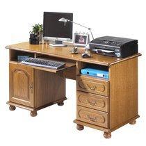 Meuble informatique 1 porte 3 tiroirs en chêne rustique - LOIC