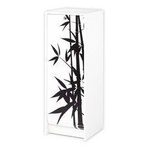 Classeur à rideau blanc et décor bambou H103cm