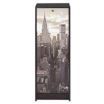 Classeur à rideau noir et décor New York H103cm