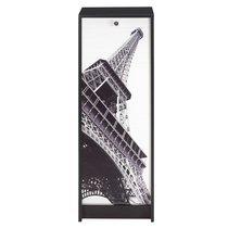 Classeur à rideau noir et décor Paris H103cm