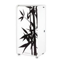 Armoire informatique 1 tiroir + 1 rideau Bambou coloris blanc