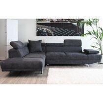 Canapé d'angle à gauche 3 places en microfibre, coloris gris anthracite