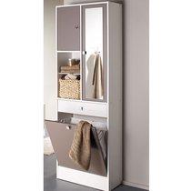 Armoire avec bac à linge 1 miroir, 1 tiroir et 2 portes blanc et taupe