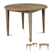 Table ronde avec 1 allonge centrale et pieds fuseau en chêne délavé - MARIE