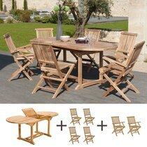 Ensemble table et 4 chaises et 2 fauteuils en teck