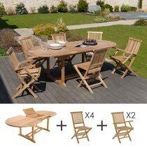 Ensemble table ovale - 4 chaises - 2 fauteuils