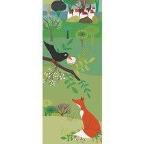 Sticker trompe l'oeil 83x204cm motif le corbeau et le renard