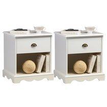 Ensemble de 2 chevets blanc 1 tiroir de style anglais