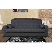 Canapé 3 places convertible en tissu - coloris gris