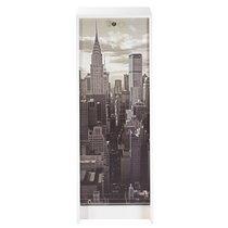 Classeur à rideau H103 cm blanc et décor New York
