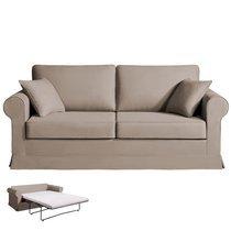 Canapé 3 places convertible - 100% coton - coloris beige ADELE