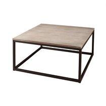 Table basse carrée 90 cm en bois et métal - LASTY