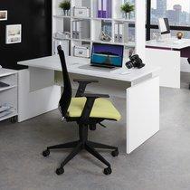 Bureau professionnel droit 140x80cm coloris blanc et alu