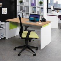 Bureau professionnel droit 140x80 cm coloris chêne clair et anis