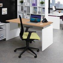 Bureau professionnel droit 140x80 cm coloris chêne clair et alu