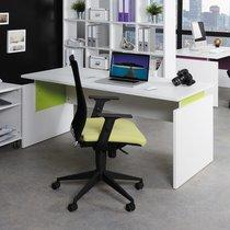 Bureau professionnel droit 160x80 cm coloris blanc et anis