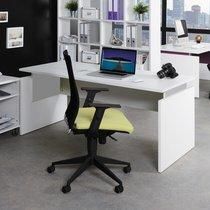Bureau professionnel droit 160x80 cm coloris blanc et alu