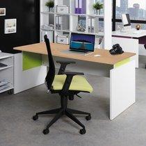 Bureau professionnel droit 160x80 cm coloris chêne clair et anis